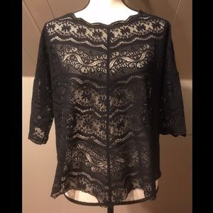 Free People Black Lace Top Short Sleeve Size Small